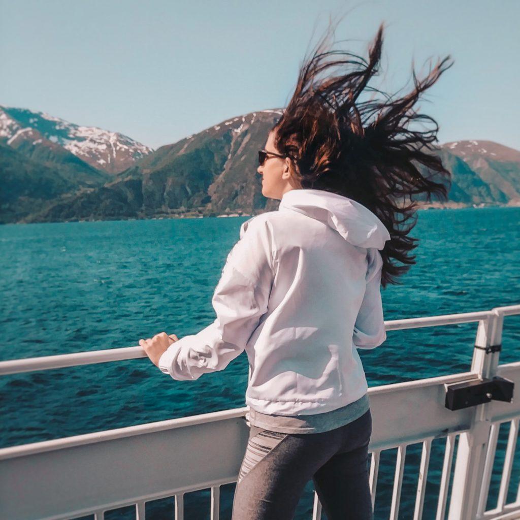 Windy Hair Norway Boat Ride