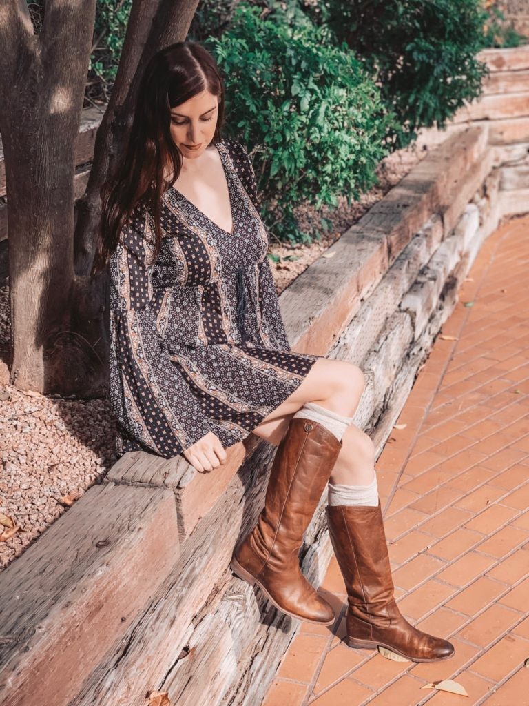 abercrombie dress and brown leather boots