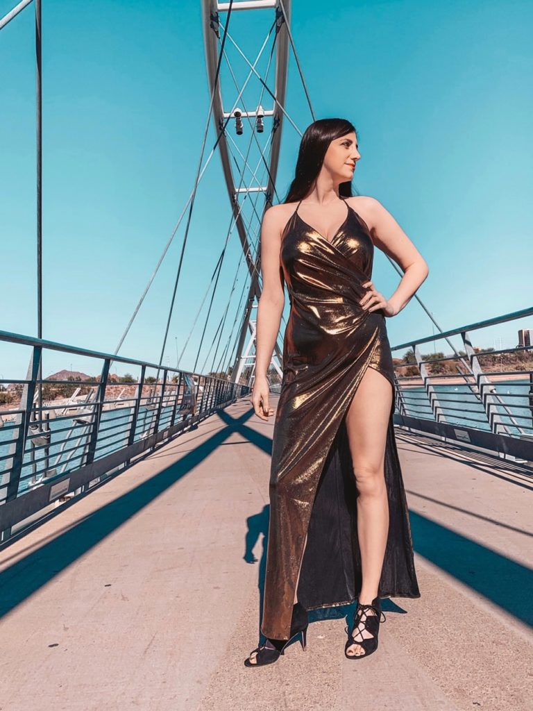 Gold Metallic Dress with Thigh High Slit