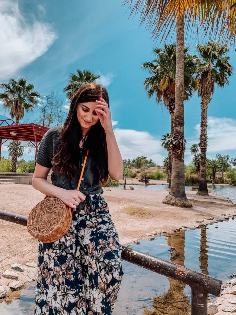 Rattan Bag in front of Palm Trees