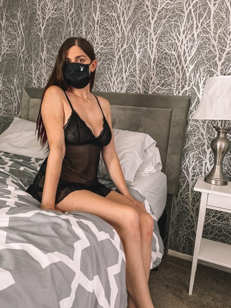yandy black chemise and playboy mask