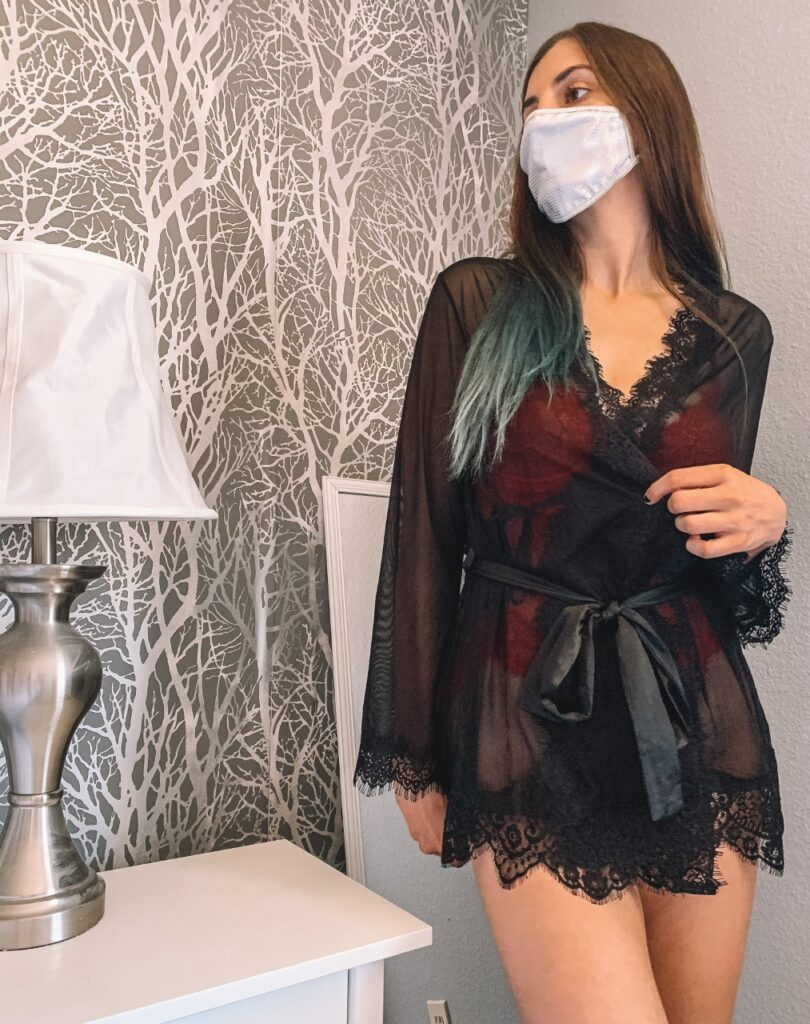 yandy black lace robe